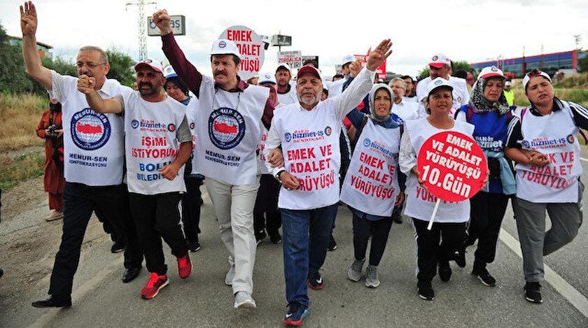 Hizmet -İş üyelerinin yürüyüşüne Memur-Sen'den destek.