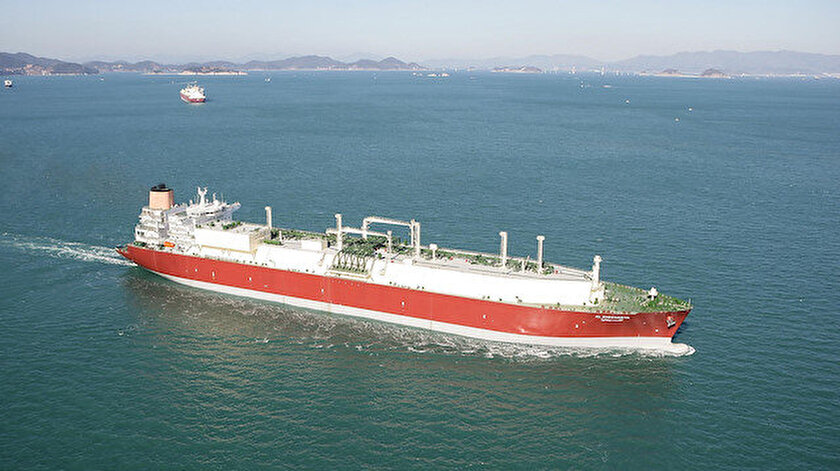 210 bin metreküp kapasiteli Q-Flex türü Al-Sheehaniya adlı tanker.