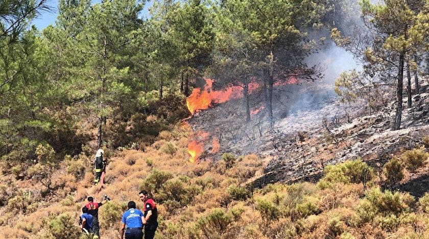 Fethiye'deki orman yangınına ekipler müdahale ediyor.