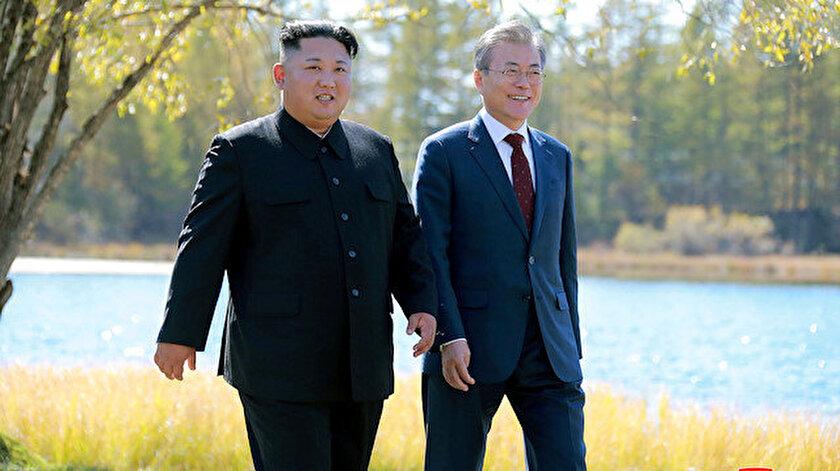 Güney Kore Devlet Başkanı Moon Jae-in ve Kuzey Kore Devlet Başkanı Kim Jong-Un