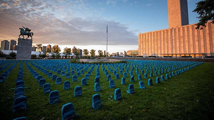Savaşta ve çatışmalarda ölen çocuklar BM Genel Merkezi önünde anıldı.