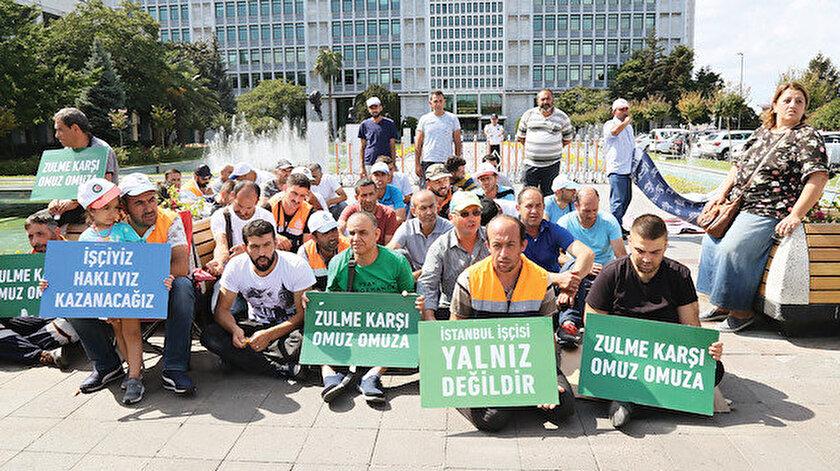 İBB önünde haklarını arayan işçiler