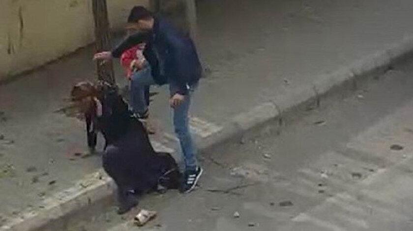 Evladının gözü önünde karısına şiddet uygulamıştı.