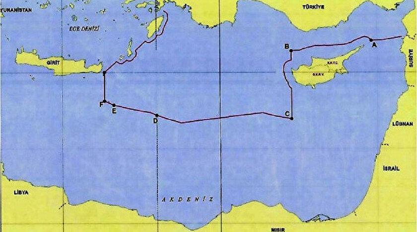 Türkiye'nin paylaştığı harita