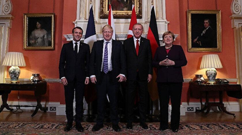 Fransa Cumhurbaşkanı Emmanuel Macron, İngiltere Başbakanı Boris Johnson, Cumhurbaşkanı Erdoğan, Almanya Başbakanı Angela Merkel