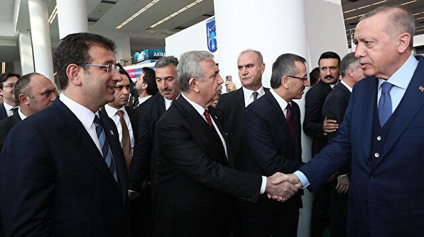 Cumhurbaşkanı Erdoğan, İBB Başkanı Ekrem İmamoğlu ve ABB Başkanı Mansur Yavaş.