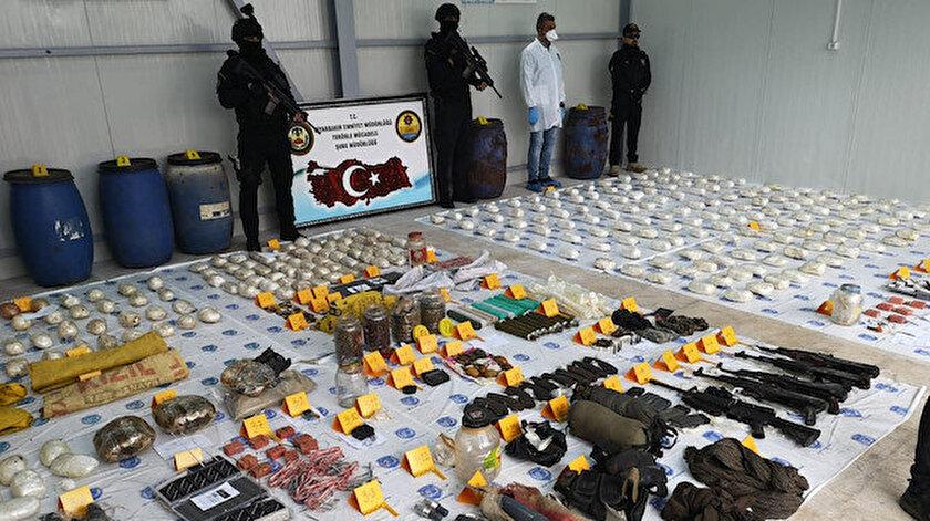 Diyarbakır'da  ele geçirilen patlayıcılar.
