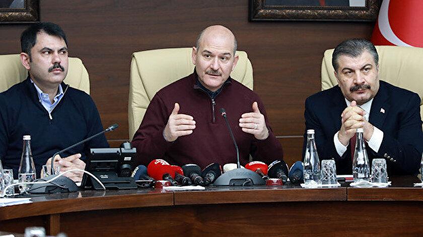 Çevre ve Şehircilik Bakanı Murat Kurum, İçişleri Bakanı Süleyman Soylu ve Sağlık Bakanı Fahrettin Koca