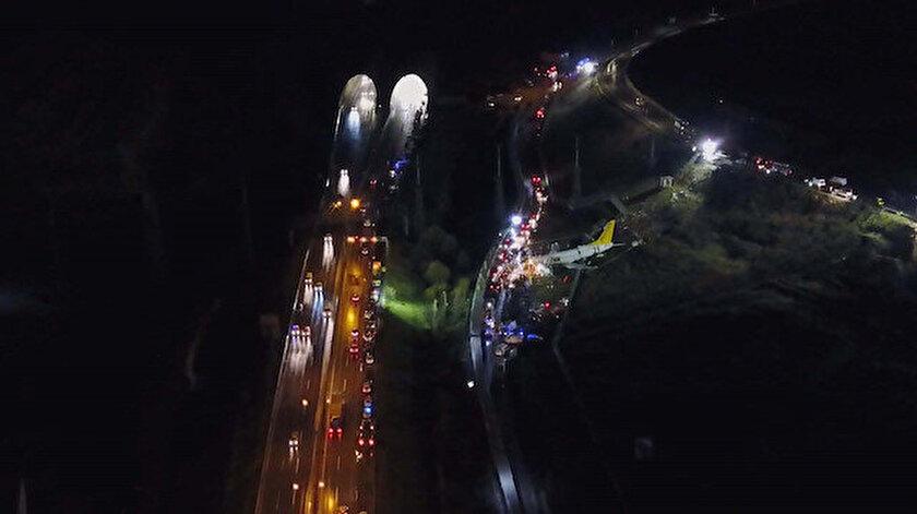 Sabiha Gökçen'de pistten çıkan uçağın havadan fotoğrafı