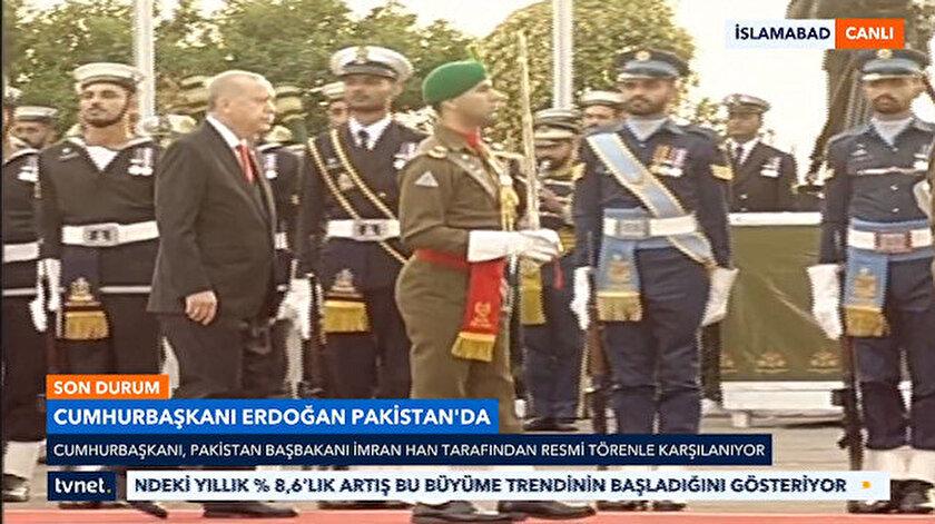Cumhurbaşkanı Erdoğan, askeri törenle karşılandı.