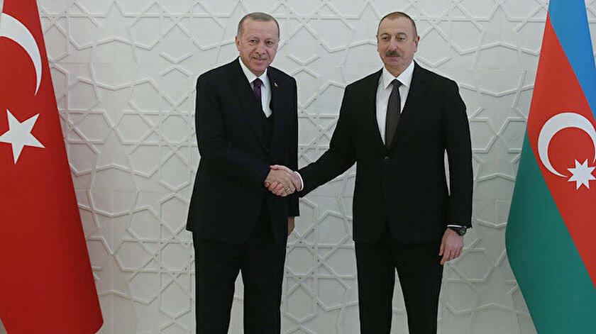 Cumhurbaşkanı Erdoğan ve İlham Aliyev.