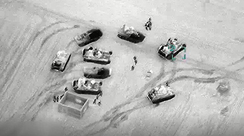 Rejim hedeflerinin vurulma anları insansız hava araçlarıyla görüntülendi.