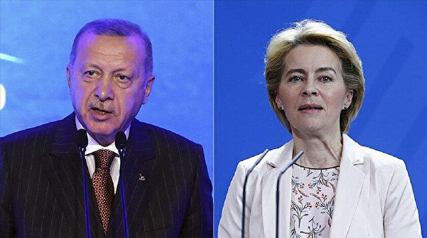 Cumhurbaşkanı Recep Tayyip Erdoğan ve Avrupa Birliği (AB) Komisyonu Başkanı Ursula von der Leyen