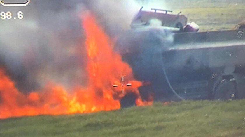 Bomba yüklü tanker kontrollü şekilde imha edildi.