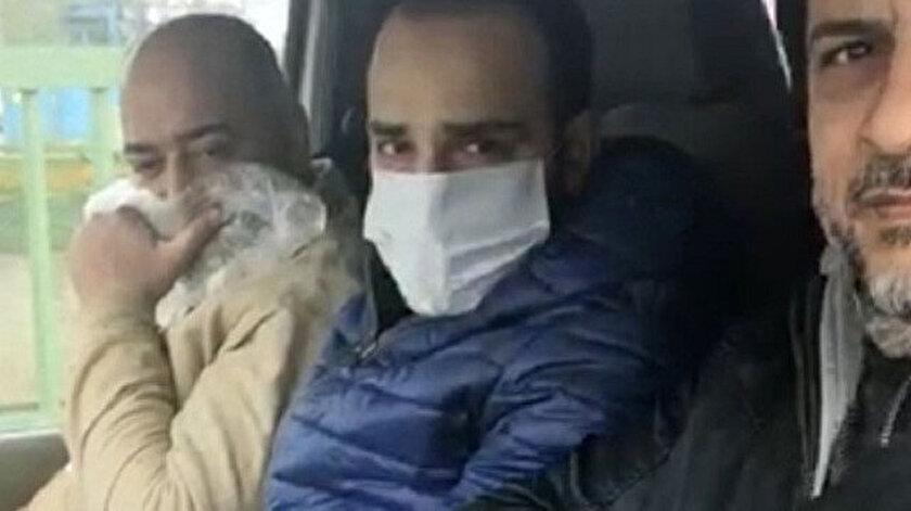 Maske takmayan vatandaş polisi görünce yüzünü poşetle kapattı.