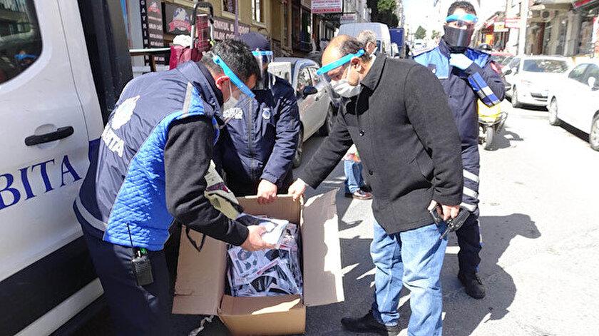 Yasağa rağmen pazarda maske satan iki kişiye 187'şer TL ceza kesildi