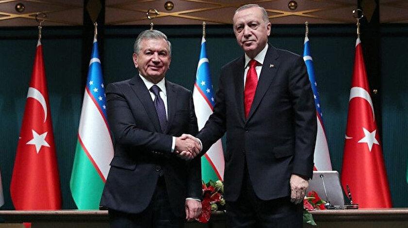 Cumhurbaşkanı Recep Tayyip Erdoğan ve Özbekistan Cumhurbaşkanı Şevket Mirziyoyev