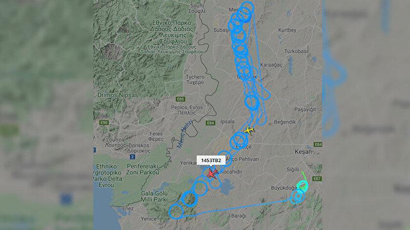 1453TB2 uçuş kodlu Türk İHA'sı Yunanistan sınırında devriye attı.