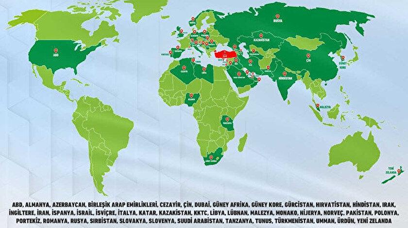 Haritada ihracat yapan ülkeler koyu yeşil olarak gösterildi.