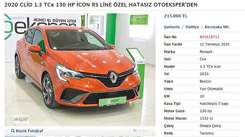 Yetkili bayide 184.600 lira olan 2020 model Renault Clio, ikinci el sitesinde 215 bin liraya satılıyor.