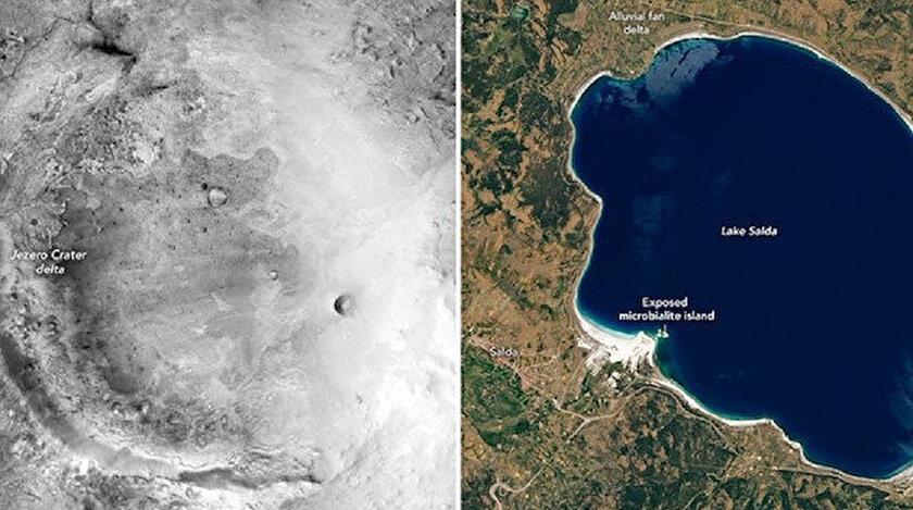 NASA'nın paylaşımında Salda Gölü, Jezero Krateri'ne benzetildi.