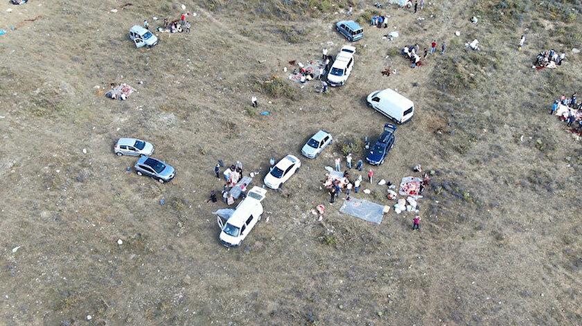Kaçak kurban kesenler havadan görüntülendi.