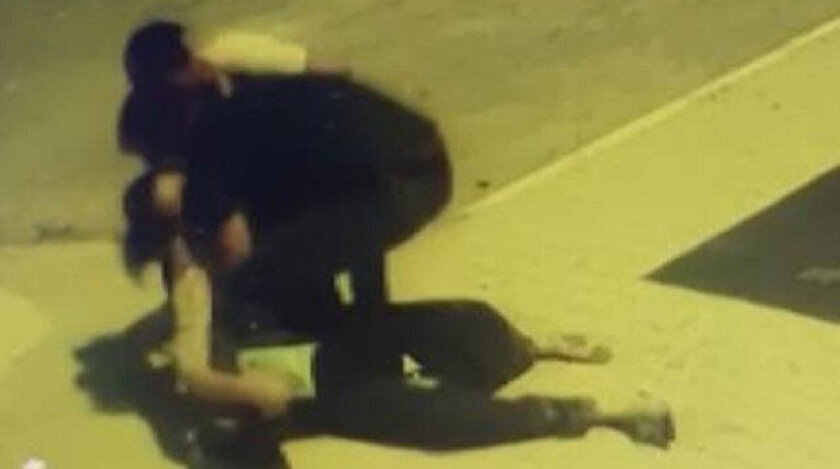 Tartıştığı eşine kafa atan saldırgan kamerada.