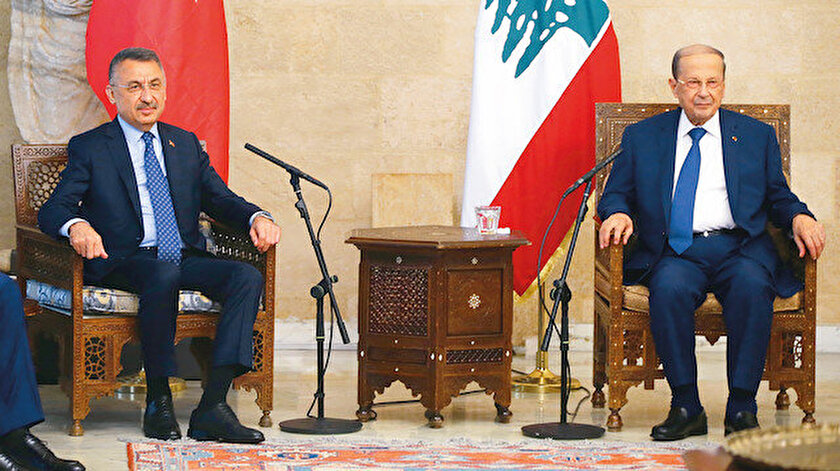 Lübnan Cumhurbaşkanı Michel Avn, Oktay ve beraberindekileri kabul etti.