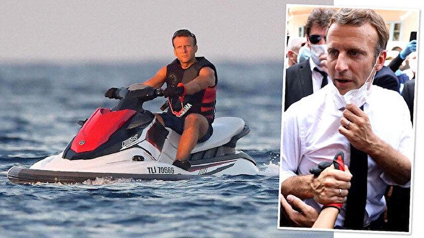 İngiliz The Timestan Macron yorumu: Jet ski üzerinden dünya sorunlarını çözmeye çalışıyor
