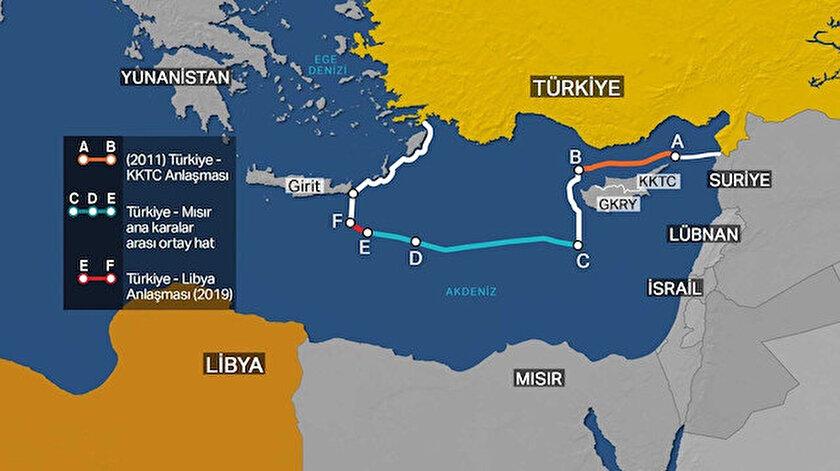 Türkiye ile Libya arasında yapılan anlaşmaya göre deniz aşırı sınırların bölgesi...