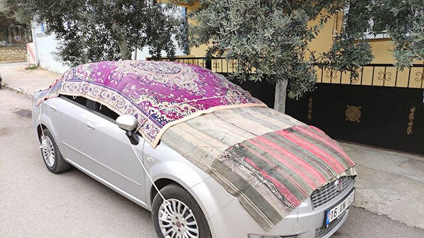 Uyarılar yapıldı: Bursada doluya karşı sürücülerden battaniyeli önlem