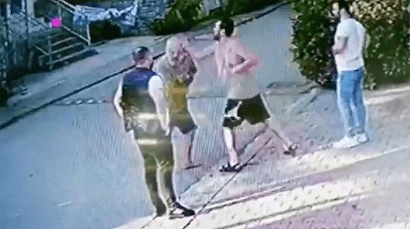 Halil Sezai'nin komşusunu dövdüğü görüntüler kameralara böyle yansımıştı.