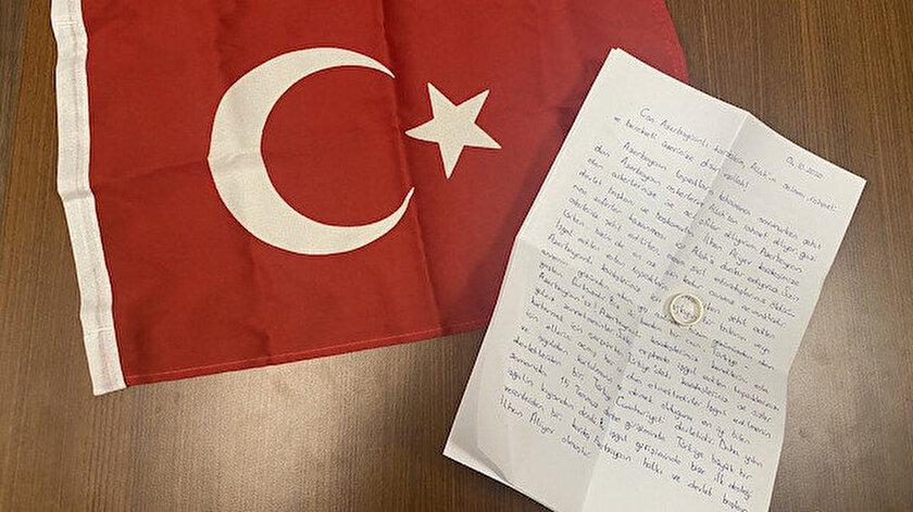 Uhud Polat'ın gönderdiği mektup ve nişan yüzüğü...