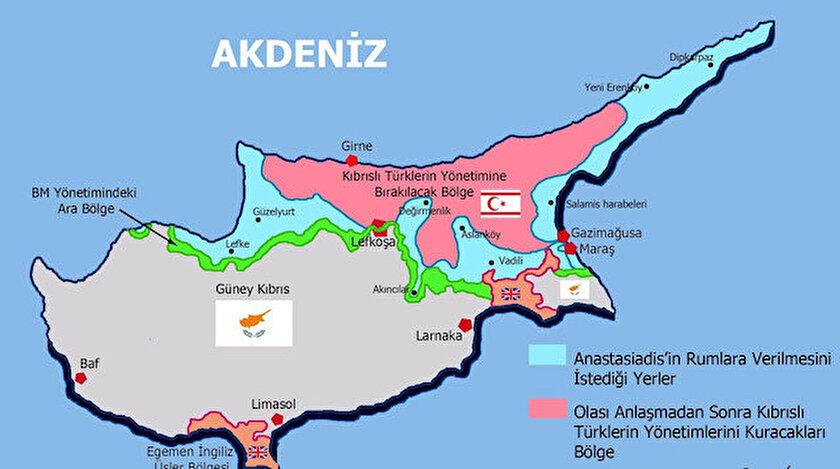 Rumların Kıbrıs haritasının KKTC'yi tamamen yok etmeyi hedeflediği görülüyor.