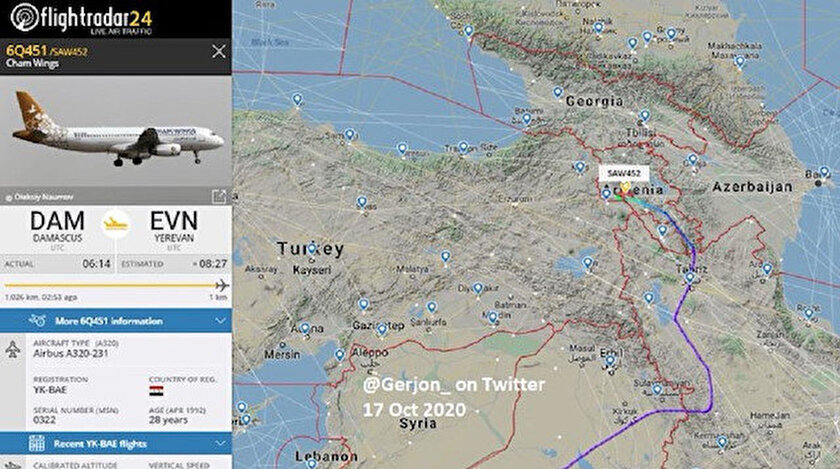 Cham Wings uçağının Şam'dan Erivan'a geldiği görüldü.