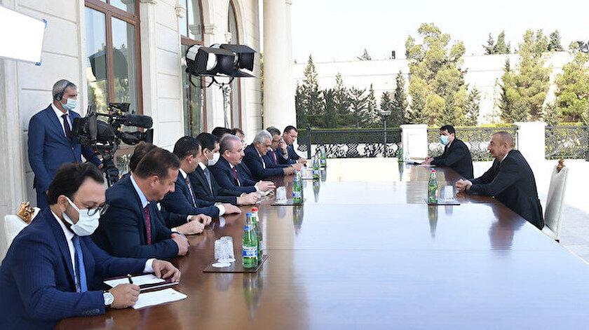 Mustafa Şentop ile İlham Aliyev  görüştüler.