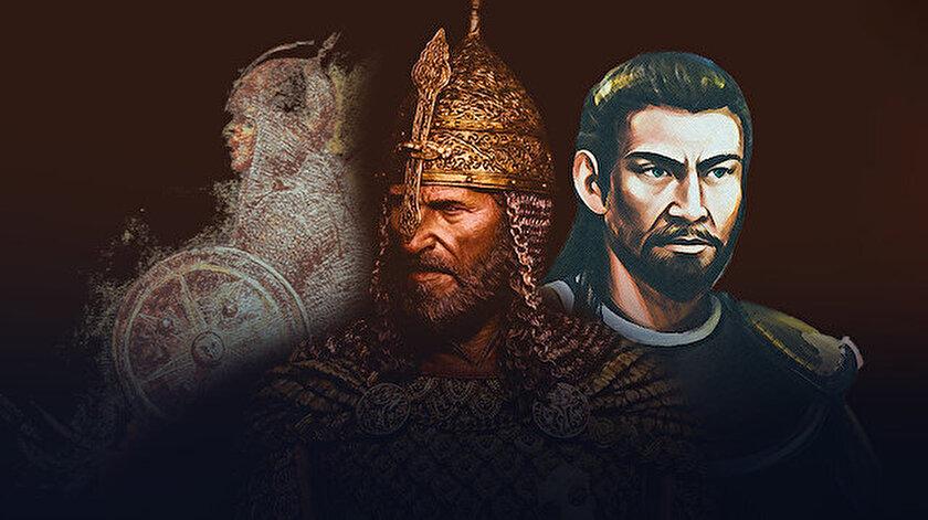 Nureddin Zengi, Selahaddin Eyyubi ve Şark'ın Kalkanı olarak anılan Baybars'ın portre çizimleri.