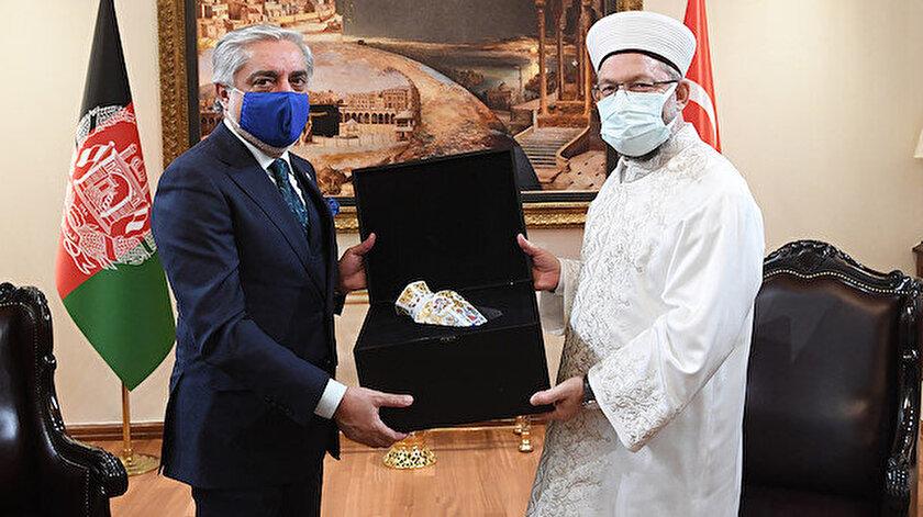 Diyanet İşleri Başkanı Ali Erbaş ve Afganistan Milli Uzlaşı Yüksek Konseyi Başkanı Abdullah Abdullah