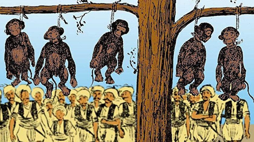Sultan III. Murad döneminde idam edilen maymunların tasviri
