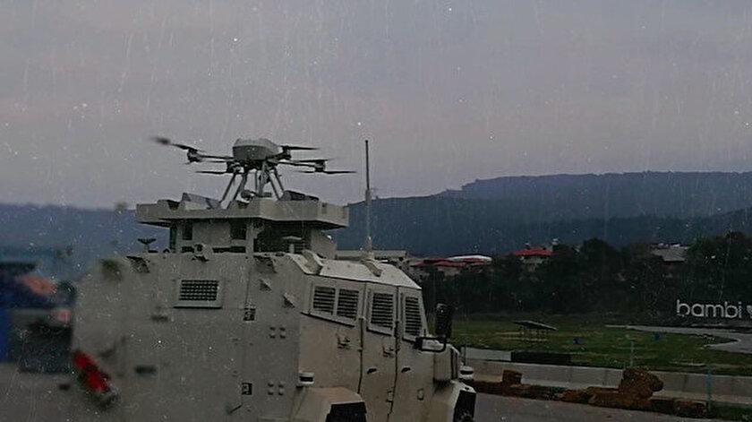 Silahlı drone Songar, askeri kara aracına entegre edildi.