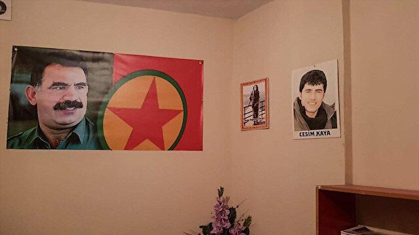 HDP binasındaki Öcalan posterleri böyle görüntülendi.