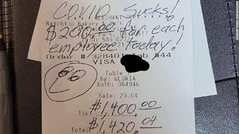 ABD'nin Colorado eyaletinde David adlı bir müşteri 20 dolarlık (148 TL)  hesap için yüklü miktarda bahşiş bıraktı.
