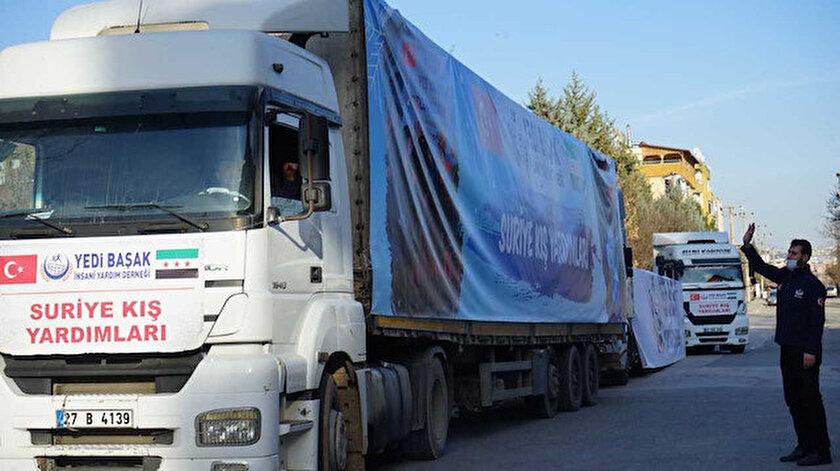 Suriye'ye kış yardımı dualarla yola çıktı