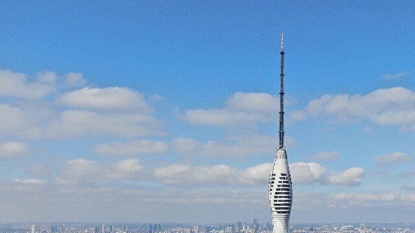 Çamlıca Kulesi'nin son hali havadan görüntülendi.