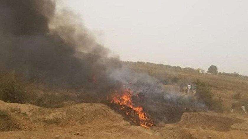 Askeri uçak düştü 6 asker hayatını kaybetti.