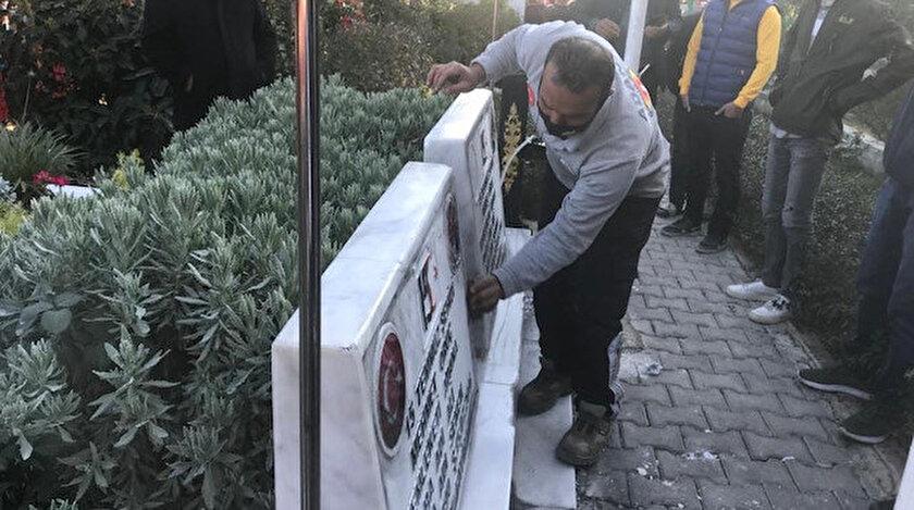 Adanada tahrip edilen ikiz şehitlerin mezarları onarıldı