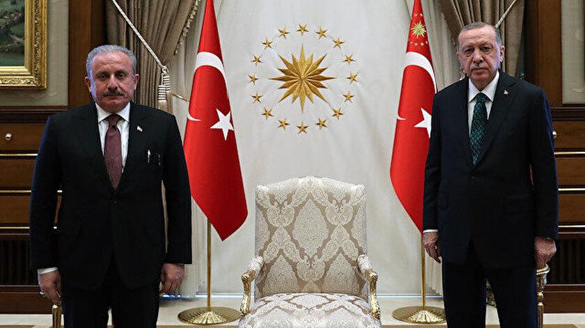 Cumhurbaşkanı Erdoğan TBMM Başkanı Şentopu ağırladı