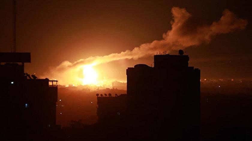 İşgalci İsrail savaş uçaklarıyla Gazzeyi vurdu