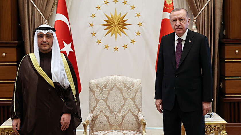 Cumhurbaşkanı Erdoğan Kuveyt Dışişleri Bakanı El-Sabahı kabul etti
