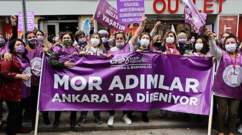 Partideki taciz vakalarına sessiz kalan CHP Kadın Kolları İstanbul Sözleşmesi için her hafta eylemde